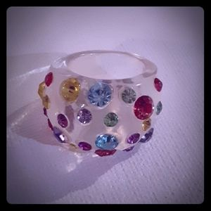 Vtg Swarovski crystal encrusted lucite dome ring